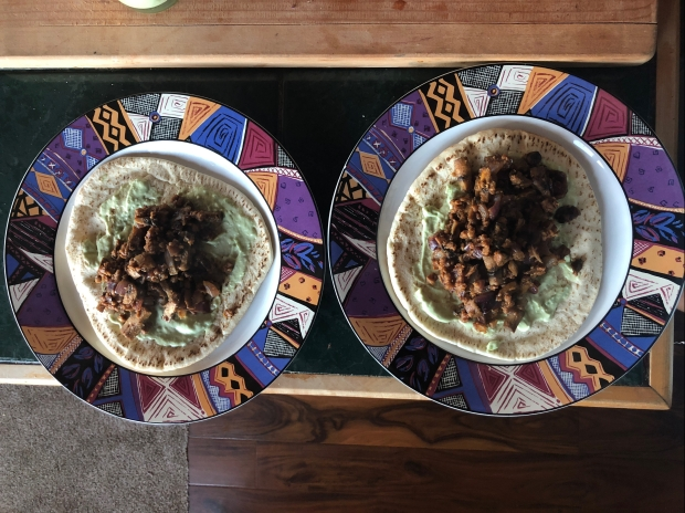 vegan gyros, plant-based gyros, mushroom gyros, avocado sauce