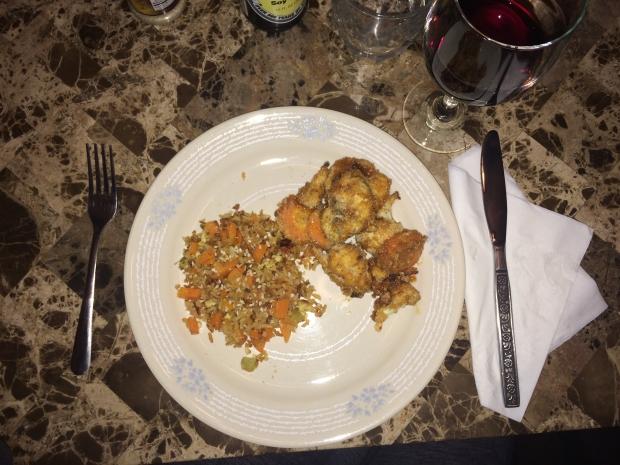 fried rice on plate with orange cauliflower
